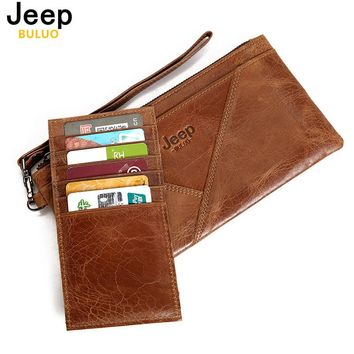 Women Handbag JEEP Brand Genuine Leather Clutching Bag Wallet Purse With Bank Card Bags For Man Natural Leather Day Clutches SN1