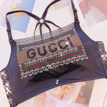 GUCCI Summer Hot Sale Women Sexy Luxury Shiny Diamond Bra
