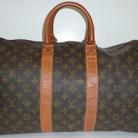 Auth Vintage Louis Vuitton USA French CO Keepall 45 travel bag tote Duffel bag