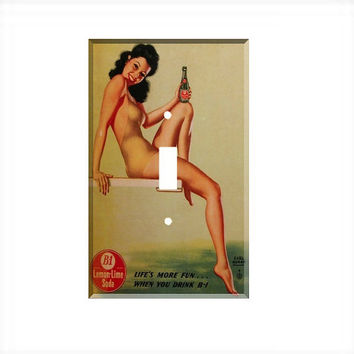 Light Switch Cover - Light Switch Plate Vintage Pin Up Girl Art  B 1 Soda