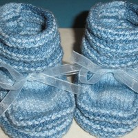 Hand Knitted Little Boy Blue Booties-Baby Shoes-Handmade Baby Booties in Blue