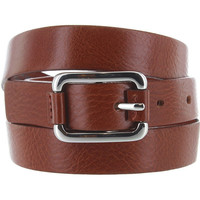 Landes - Rust Leather Silver-Tone Buckle Narrow Belt