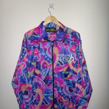 15% OFF Sale Rare Vintage Mother Goose No Mori Sports Jacket Neon Full Print Jacket Windbreaker Baroque Synchilla Tribal Patterned Unique De