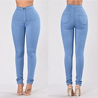 All-match Fashion Women Casual Elastic Jeans Leggings Pants Trousers
