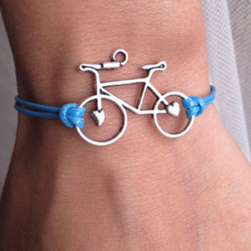 Ocean Blue Cord with Silver  Retro Bicycle charm wish bracelet