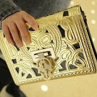 Totem Golden Hollow Out Flower Shoulder bag Clutch