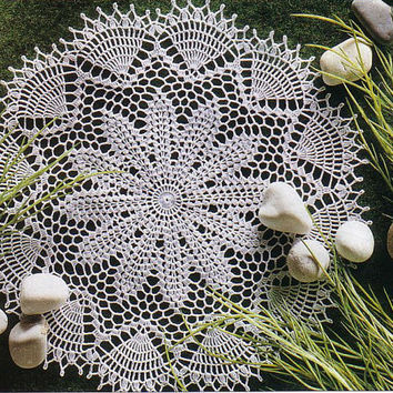 Round Ecru Crochet Doily, Lace Doily, Table Center, Victorian, Cottage Chic Decor