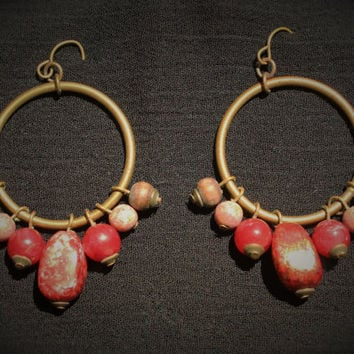 Vintage Boho Hippie Hoop Earrings In Brass with Red and Wood Beads
