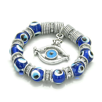 Amulet Evil Eye Protection Hamsa Hand Eye Lucky Dangling Charm with Blue Glass and Cute Crystals Beads