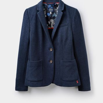 Gerrie Navy Dogstooth Jersey Tweed Blazer | Joules US