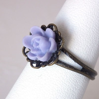 Ring, Lavendar  Rose Antiqued Brass Filigree Adjustable