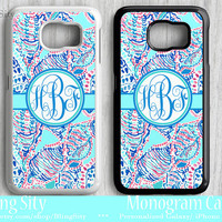Monogram Sea Shells Teal Galaxy S6 Edge S4 case S5 Conch Aqua Navy Coral Personalized Tough Custom Note 2 3 4 Cover