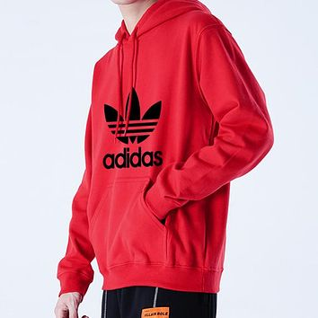 Adidas Autumn Winter Classic Popular Casual Print Long Sleeve Hooded Sweater Top Sweatshirt Red
