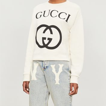 GUCCI - Logo-print cotton-jersey sweatshirt | Selfridges.com