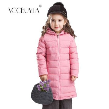 Voobuyla 2018 Children Winter Jacket Girl Winter Parkas Coat Kids Warm Thick Hooded Long Cotton Down Coats For Teenage 7Y-11Y