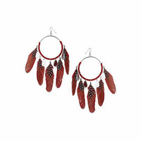 Spotted Feather And Wrap Earrings - Red