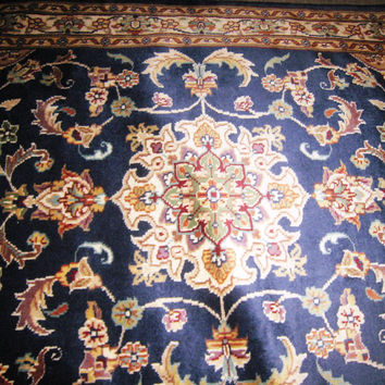 Persian Carpet Oriental Rug genuine tharparkar sindhi indian design 3x5 hand knotted silk wool blend floral living room navy blue royal