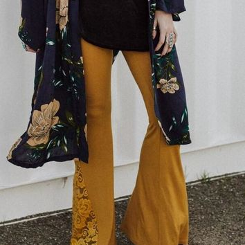 Cher Lace Flare Pants - Mustard