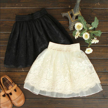 Skirt New 2017 Korean Full Lace  Embroidery Tulle Skirt Mini Skirts Fashion Woman  Skirts Pleated Skirt 20217