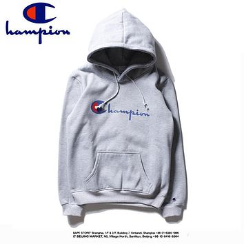 Champion tide brand couple embroidered small logo hooded plus velvet pullover sweater grey