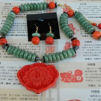 Carved cinnabar lotus coral jade necklace set