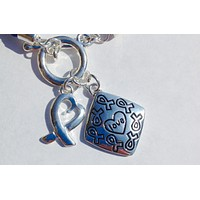 Awareness Causes SUPPORT BLUE Rope Bracelet Puzzle Ribbon and Charm