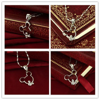 Womens Necklace Fashion Womens 925 Sterling Silver and Mickey Model Pendant Hot Lady High-grade Allergy Necklace