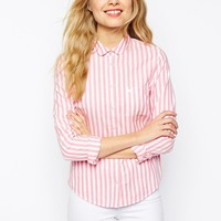 Jack Wills Striped Shirt With Curved Collar