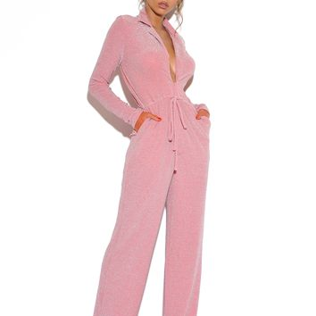 Fly Away Pink Glitter Woven Knit Jumpsuit