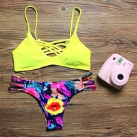 Swimsuit New Arrival Hot Sexy Summer Beach Swimwear Cross Strap Print Bikini [4970318788]