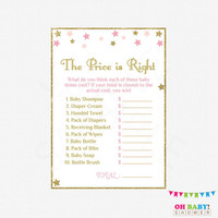 Pink and Gold Baby Shower Game. The Price is Right. Twinkle Twinkle Little Star. DIY Printable. Gold Glitter. Baby Girl. Download. STPG