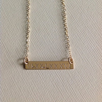 Gold filled Bar necklace/ personalized bar/ Roman Numerals / gift/ anniversary/wedding date/names