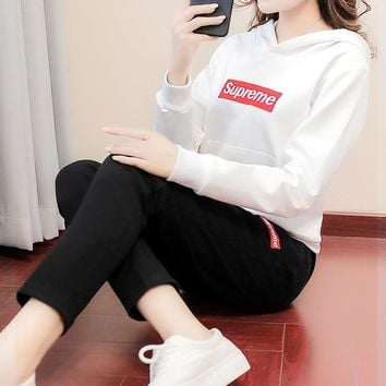 Supreme Woman Men Fashion Hoodie Top Sweater Pullover Pants Trousers Set Two-Piece