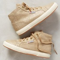 Superga Shimmered Linen High-Tops Gold