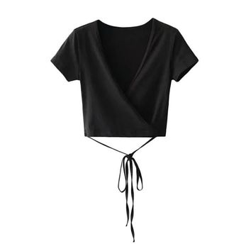 Summer Sexy V neck Knitted Top Tees Women Black Short Sleeve Bustiers Crop Top Party White Tops Tank Slim Female Camisole