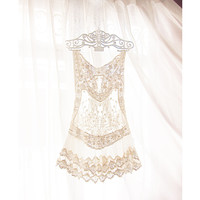 Great Gatsby Marie Antoinette Cream Romantic Lace Coverup 1920s Baroque Art Deco Jazz Age Elven Boudoir Swing Fae Sheer Dress Tunic Vest Top