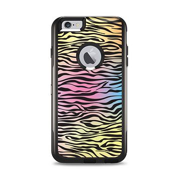 The Rainbow Colored Vector Black Zebra Print Apple iPhone 6 Plus Otterbox Commuter Case Skin Set