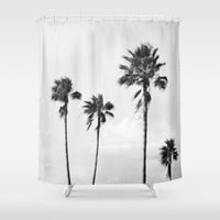 Black Palms - Shower Curtain, Beach Tropical Palm Trees Landscape, Light Gray Coastal Boho Chic Style Bath Tub Accent Curtain. In 71x74 Inch