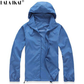 LALA IKAI Men&Women Quick Dry Skin Jacket Waterproof Superdry Outdoor Sport Hiking Camping Sun-protective Male Clothes HMA0765-5
