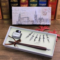 FEATTY Retro Italy Style Quill Dip pen Art Calligraphy Writing Wooden Pen set