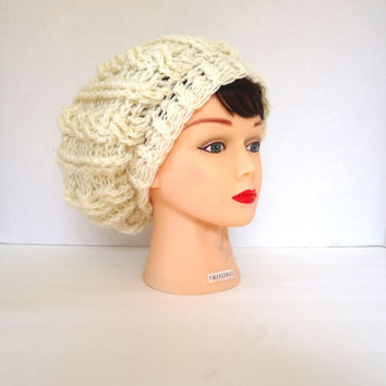 Crochet cable hat, Cream colored slouchy beanie hat, crochet beanie, womens hat, mens hat, unisex hat, ready to ship