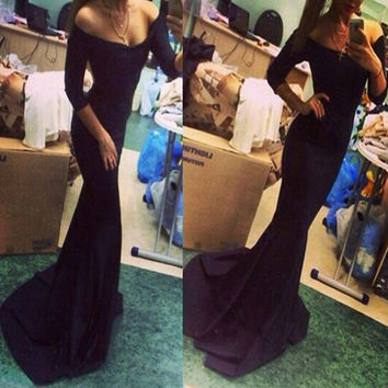 Black Slash Neck Maxi Dress