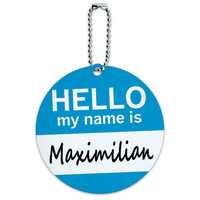 Maximilian Hello My Name Is Round ID Card Luggage Tag