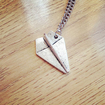 Necklace: Paper Airplane Necklace, Harry Styles, One Direction, 1D Necklace