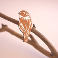 Wooden Robin Brooch Designed and Made in Australia - White