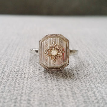 Antique Diamond Solitaire Engagement Ring Illusion Setting Flower Champagne Frame  Engraved Victorian Art Deco White 14K Gold Size 9.75