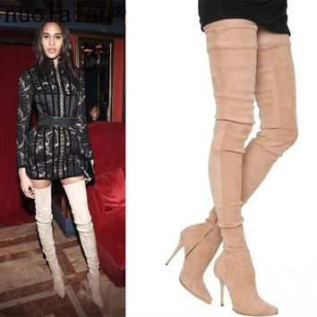 Women's Faux Suede Leather Boots Over The Knee Winter Shoes Woman High Heel Shoes Women Thigh High Motorcycle Boots Ladies Shoe