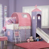 Powell Princess Castle Twin Tent Bunk Bed with Slide:Amazon:Home & Kitchen