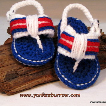 Baby Crochet Flip Flops for 4th of July