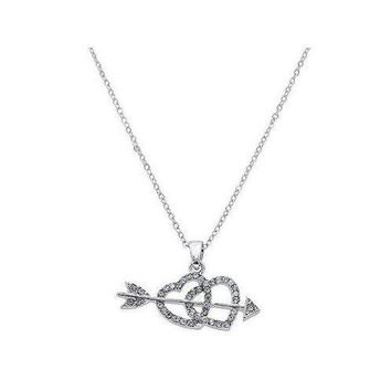 Two Hearts & Arrow Pendant Necklace in Sterling Silver